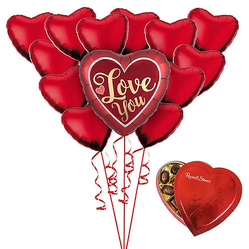 Love You Heart Balloon Bouquet & Russel Stover Chocolates Valentine's Day Gift Kit Image #1