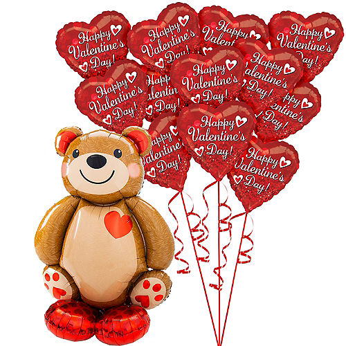 AirLoonz Cuddly Teddy Bear & Red Hearts Valentine's Day Balloon Kit, 13pc Image #1