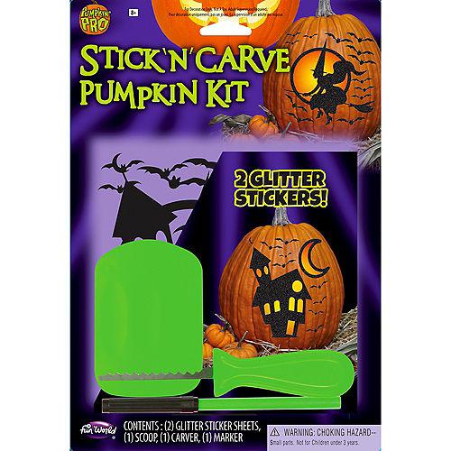 Glitter Stick 'n' Carve Plastic Pumpkin Carving Kit, 5pc Image #1