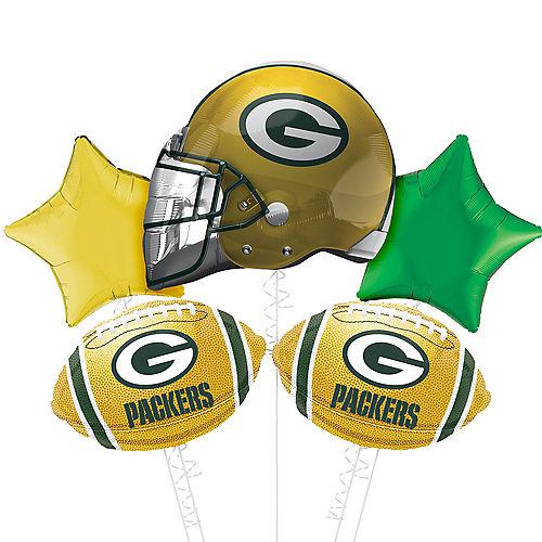Green Bay Packers Helmet Foil Balloon Bouquet, 5pc Image #1