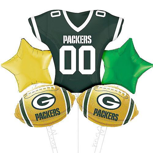 Green Bay Packers Jersey Foil Balloon Bouquet, 5pc Image #1
