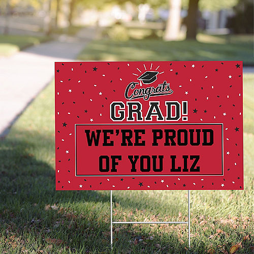 Custom School Color Pride Red Graduation Yard Sign Image #1
