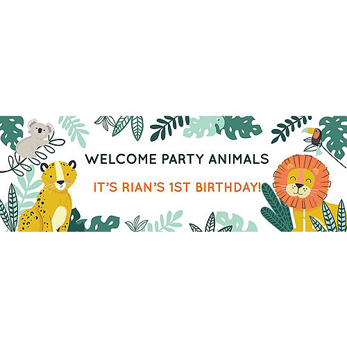 Custom Get Wild Jungle Vinyl Horizontal Banner, 6ft x 2ft Image #1