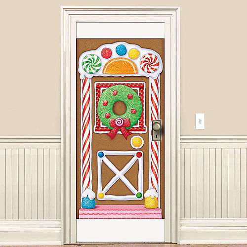 Gingerbread House Christmas Door Cover, 5ft Image #1