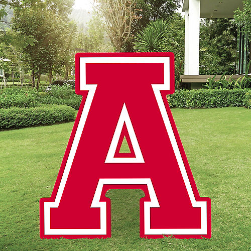 Red Collegiate Letter (A) Plastic Yard Sign, 30in Image #1