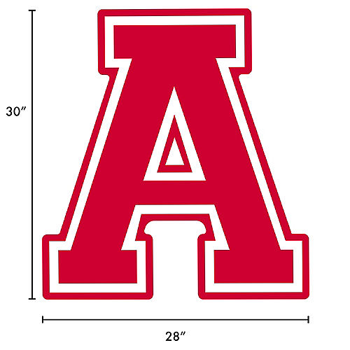 Red Collegiate Letter (A) Plastic Yard Sign, 30in Image #2