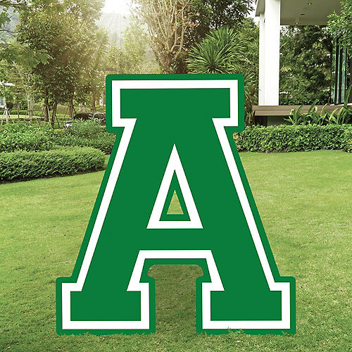 Festive Green Collegiate Letter (A) Plastic Yard Sign, 30in Image #1