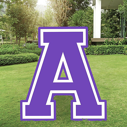 Purple Collegiate Letter (A) Plastic Yard Sign, 30in Image #1
