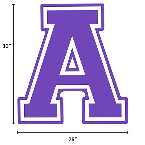Purple Collegiate Letter (A) Plastic Yard Sign, 30in Image #2