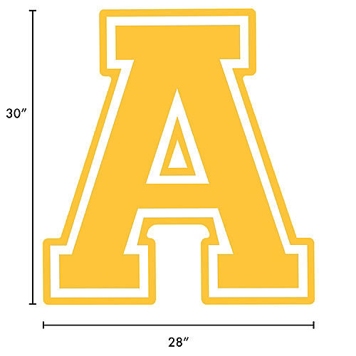 Yellow Collegiate Letter (A) Plastic Yard Sign, 30in Image #2