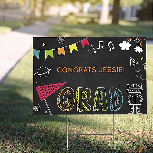 Custom Elementary School Chalkboard Graduation Yard Sign, 22in x 15in Image #1