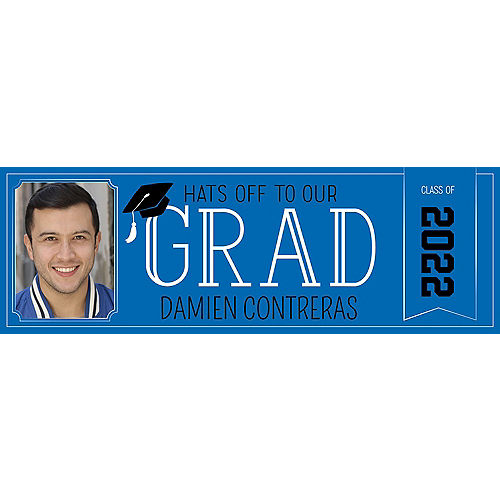 Custom Royal Blue Graduation Photo Horizontal Banner Image #1