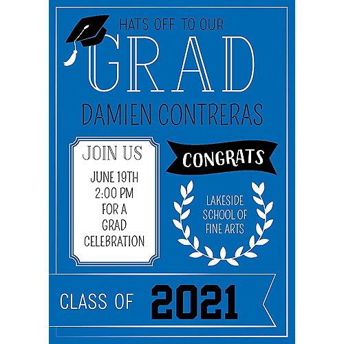 Custom Royal Blue Graduation Invitations Image #1