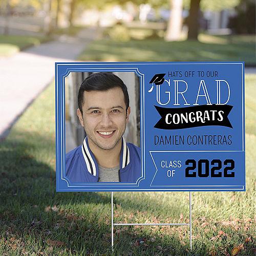Custom Royal Blue Graduation Photo Yard Sign Image #1