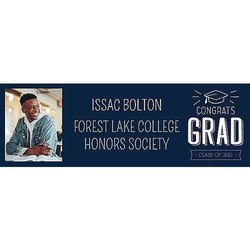 Custom Navy Graduation Photo Horizontal Banner, 6ft x 2ft Image #1