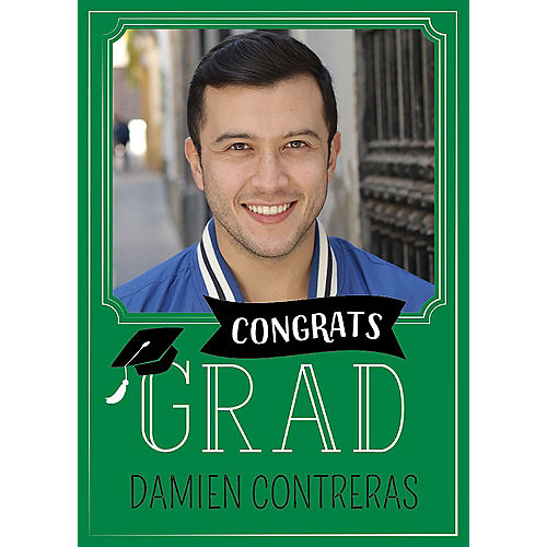 Custom Green Graduation Photo Announcements Image #1