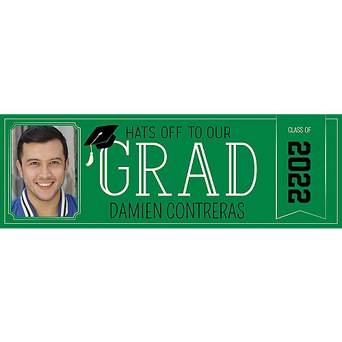 Custom Green Graduation Photo Horizontal Banner Image #1