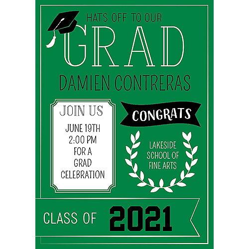 Custom Green Graduation Invitations Image #1
