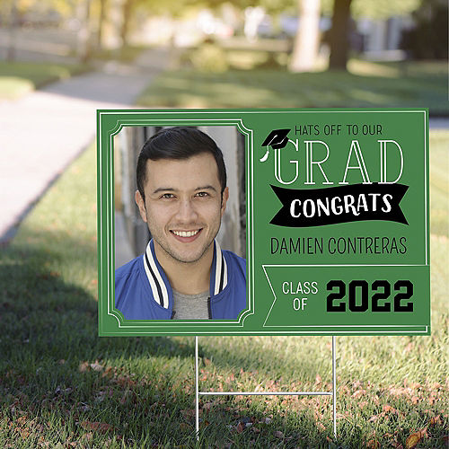 Custom Green Graduation Photo Yard Sign Image #1