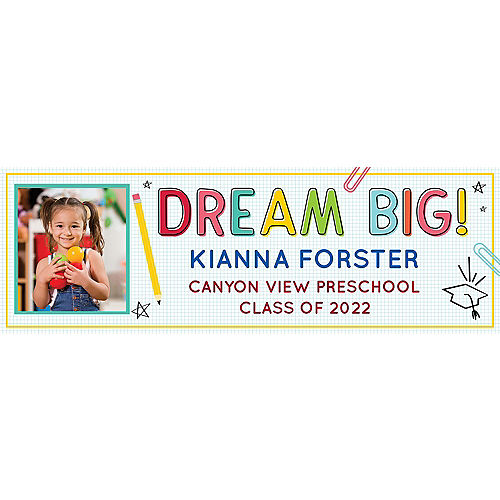 Custom Elementary School Doodle Graduation Photo Horizontal Banner, 6ft x 2ft Image #1