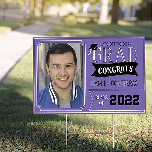 Custom Purple Graduation Photo Yard Sign Image #1
