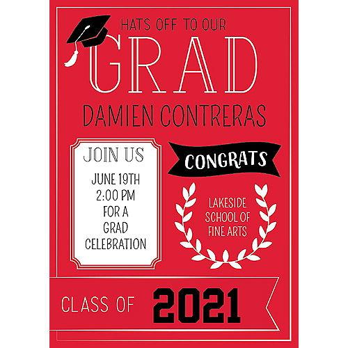 Custom Red Graduation Invitations Image #1