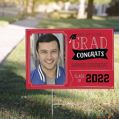 Custom Red Graduation Photo Yard Sign Image #1