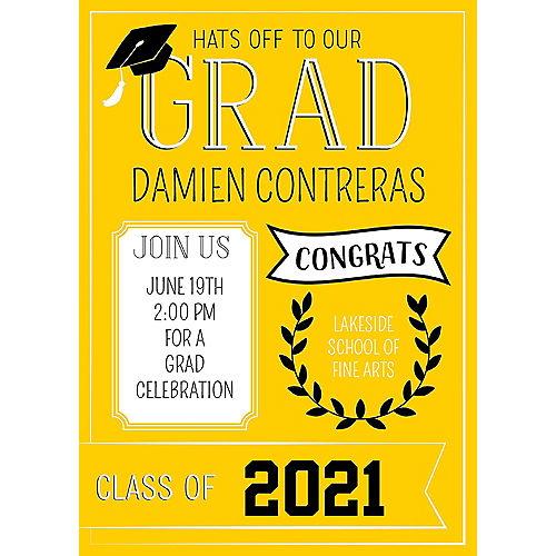 Custom Yellow Graduation Invitations Image #1