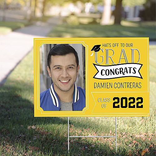 Custom Yellow Graduation Photo Yard Sign Image #1