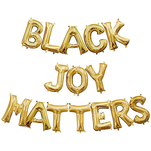 Air-Filled Gold Black Joy Matters Balloon Phrase, 13in, 15pc Image #1