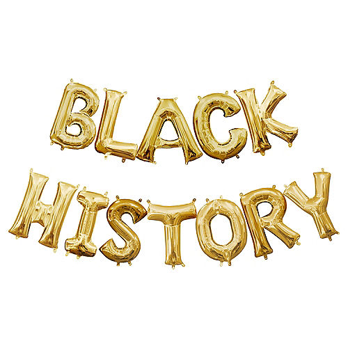 Air-Filled Gold Black History Balloon Phrase, 13in, 12pc Image #1