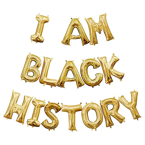 Air-Filled Gold I Am Black History Balloon Phrase, 13in, 15pc Image #1