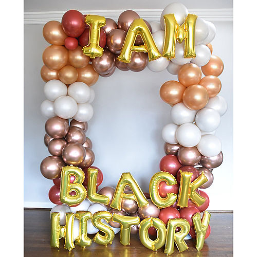 Air-Filled Gold I Am Black History Balloon Phrase, 13in, 15pc Image #2