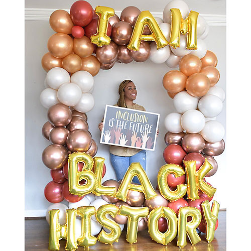 Air-Filled Gold I Am Black History Balloon Phrase, 13in, 15pc Image #3