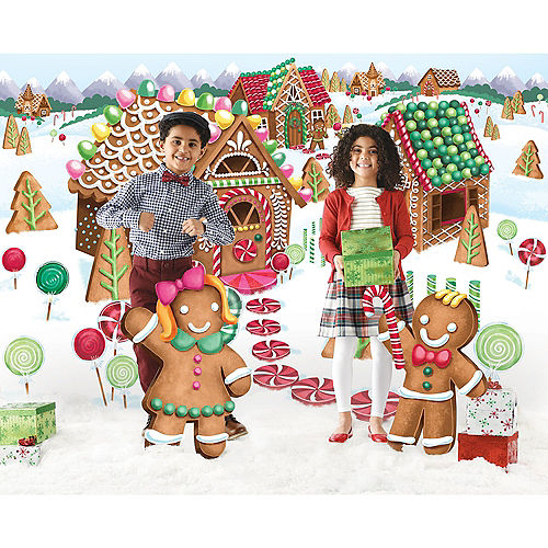 Gingerbread Village Holiday Scene Setter with Standing Cutouts Image #1