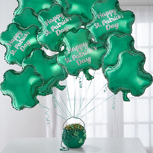 12pc Shamrock Foil Balloon Bouquet with Pot o' Beads - St. Patrick's Day Image #1