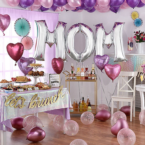 DIY Deluxe Pink, Lavender & Silver Mother's Day Balloon Room Decorating Kit, 66pc Image #1