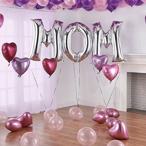 DIY Deluxe Pink, Lavender & Silver Mother's Day Balloon Room Decorating Kit, 66pc Image #3