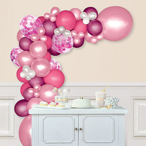 DIY Pink & Floral Balloon Backdrop Kit, 5pc Image #2