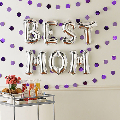 DIY Air-Filled Silver & Purple Best Mom Foil Balloon Phrase Banner Kit, 13in Letters, 13pc Image #1