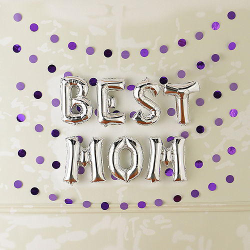DIY Air-Filled Silver & Purple Best Mom Foil Balloon Phrase Banner Kit, 13in Letters, 13pc Image #2