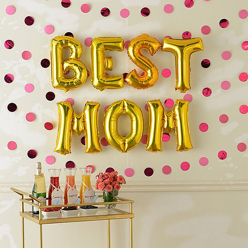 DIY Air-Filled Gold & Pink Best Mom Foil Balloon Phrase Banner Kit, 13in Letters, 13pc Image #1