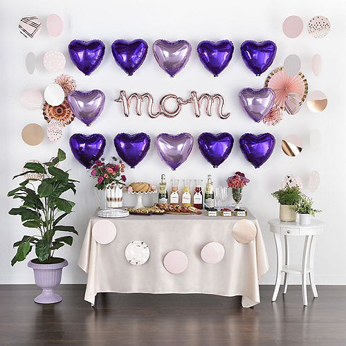 DIY Air-Filled Pink, Purple & Rose Gold Mom Balloon Wall Kit, 20pc Image #1