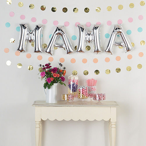 DIY Air-Filled Pastel & Silver Mama Balloon Phrase Banner Kit, 13in Letters, 10pc Image #1