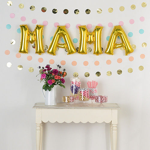 DIY Air-Filled Pastel & Gold Mama Balloon Phrase Banner Kit, 13in Letters, 10pc Image #1