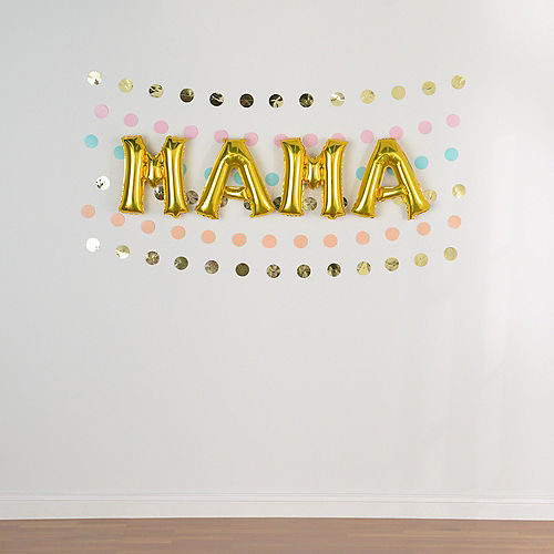 DIY Air-Filled Pastel & Gold Mama Balloon Phrase Banner Kit, 13in Letters, 10pc Image #2