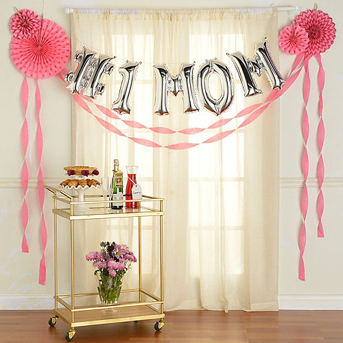 DIY Air-Filled Silver & Pink Number 1 Mom Balloon Phrase Banner Kit, 13in Letters, 10pc Image #1