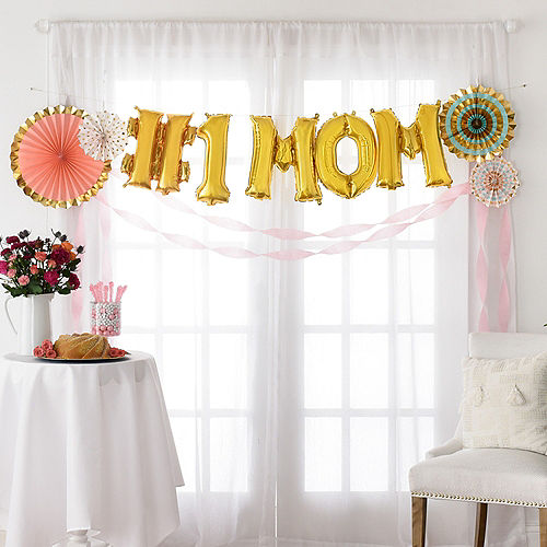 DIY Air-Filled Gold & Pastel Number 1 Mom Balloon Phrase Banner Kit, 13in Letters, 10pc Image #1