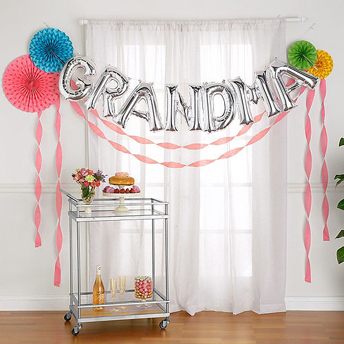 DIY Air-Filled Silver & Bright Multicolor Grandma Balloon Phrase Banner Kit, 13in Letters, 12pc Image #1