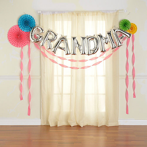 DIY Air-Filled Silver & Bright Multicolor Grandma Balloon Phrase Banner Kit, 13in Letters, 12pc Image #2